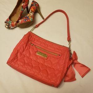 Betsey Johnson Pink Quilted Heart Shoulder Bag